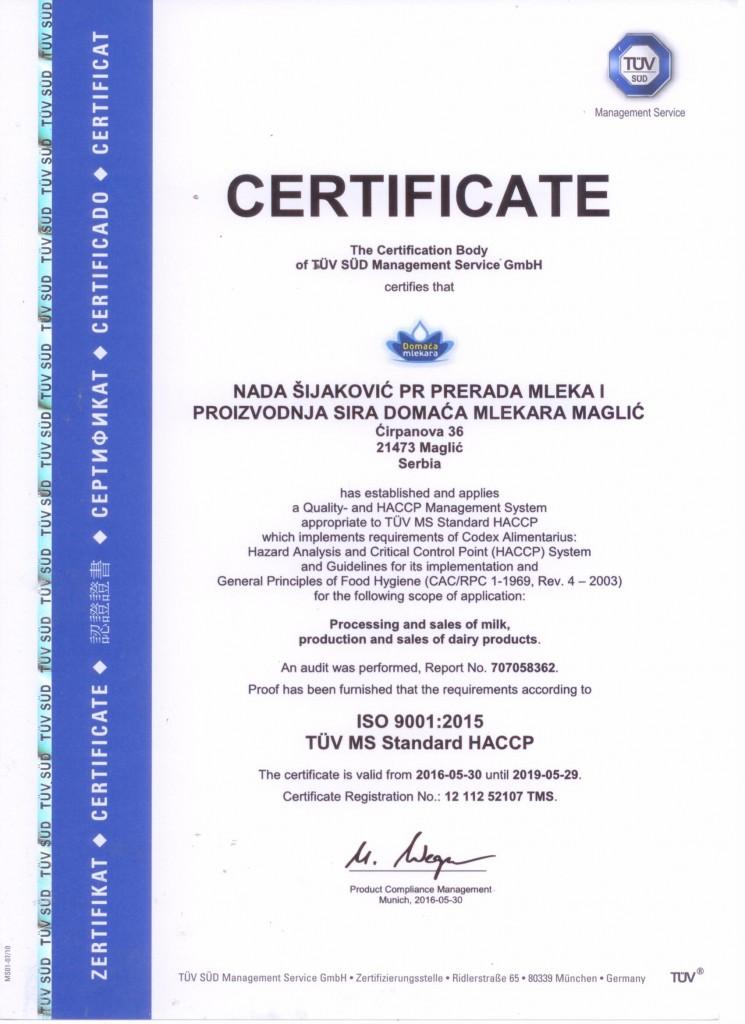 ISO 9001:2015, HACCP Certificate