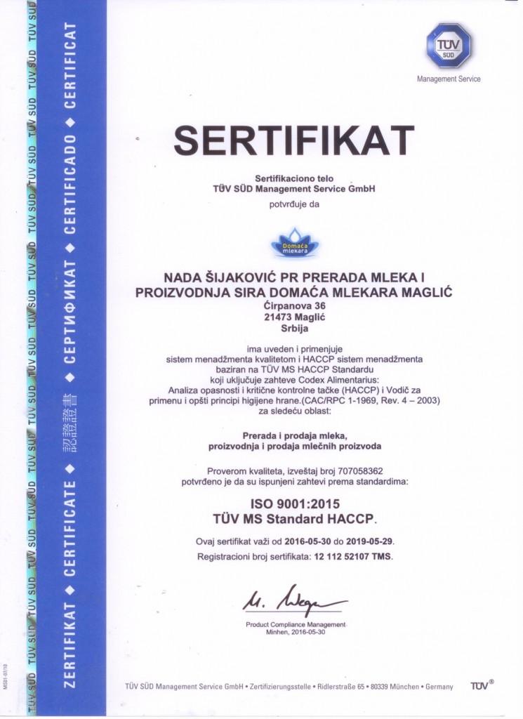 ISO 9001:2015, HACCP Sertifikat